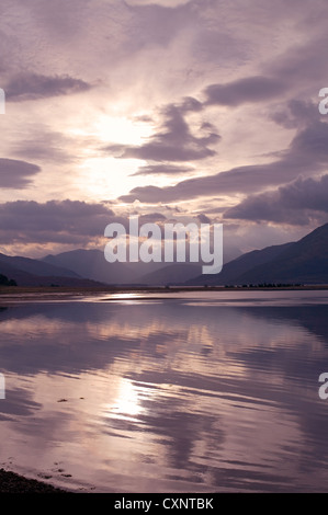 View from Ardgour over Sallachan Point, Loch Linnhe, to Glencoe, early morning sunlight, Lochaber, Western Highlands - Stock Photo