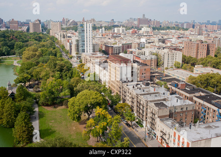 The northern end of Central Park where it meets Harlem - Stock Photo