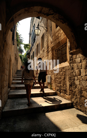 croatia, dubrovnik, old town alley - Stock Photo