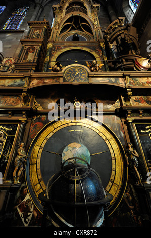 Astronomical Clock, interior view, Strasbourg Cathedral or the Cathedral of Our Lady of Strasbourg, Cathédrale - Stock Photo