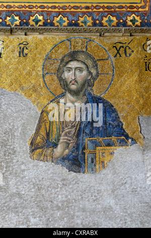 Christ Pantocrator, Christ image, Deësis mosaic on the south gallery, interior view, Hagia Sophia, Ayasofya - Stock Photo