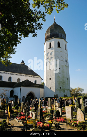Cemetery and church tower of the Abtei Frauenwoerth Abbey, Benedictine Abbey, Frauenchiemsee or Fraueninsel, Women's - Stock Photo