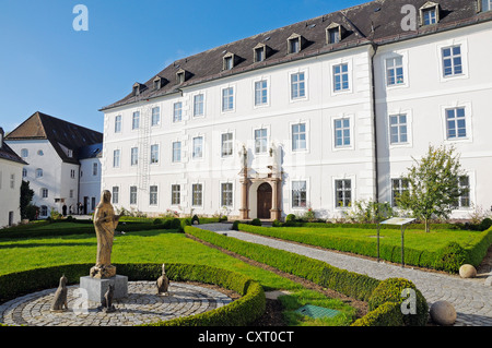 Abtei Frauenwoerth Abbey, Benedictine Abbey, Frauenchiemsee or Fraueninsel, Women's Island, Lake Chiemsee, Chiemgau - Stock Photo
