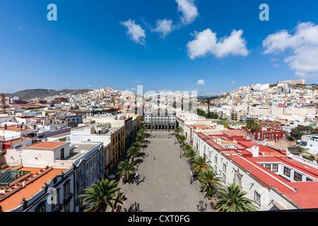 View over Plaza Santa Ana square towards Casas Consistoriales, Town Hall, historic town centre of Las Palmas - Stock Photo