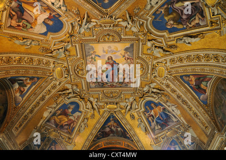 Ceiling design, Basilica di Santa Maria Maggiore, Papal Basilica of Saint Mary Major, Rome, Italy, Europe - Stock Photo