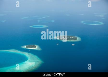 Aerial View of Bandos and Kuda Bandos Islands, North Male Atoll, Maldives - Stock Photo