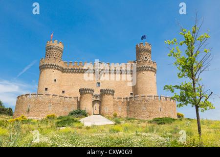 Manzanares el Real, Comunidad de Madrid, Spain. The 15th century Castle of the Mendoza. - Stock Photo