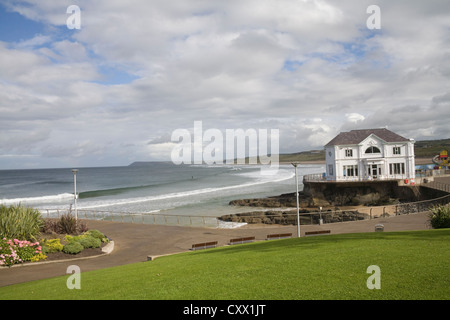 Portrush County Antrim Northern Ireland View along sea front of popular family resort to East Strand beach - Stock Photo