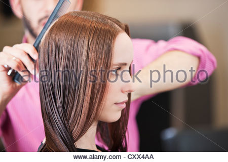 A male hairdresser combing his female clients long hair - Stock Photo