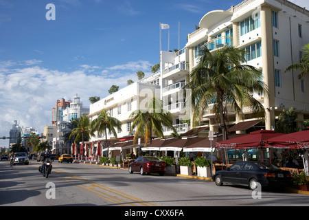 art deco historic district ocean drive miami south beach florida usa - Stock Photo
