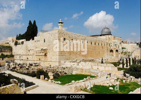 Al-Aqsa Mosque and Jerusalem Archaeological Park, Ophel, Jerusalem, Israel, Middle East - Stock Photo
