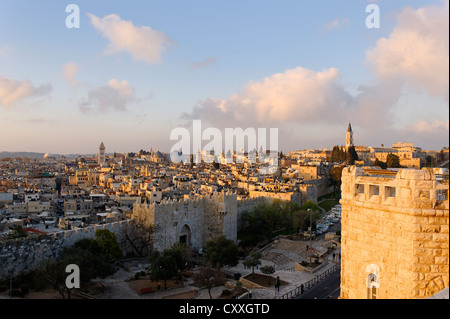Damaskus Gate in the morning light, from the Paulus Haus guest house, old town, Jerusalem, Israel, Middle East - Stock Photo