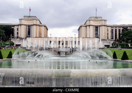 Fountains in the Jardins du Trocadero park, Paris, France, Europe - Stock Photo