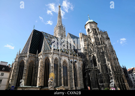 Exterior view of St. Stephen's Cathedral, Stephansdom, building started in the 12th Century, Vienna, Austria, Europe - Stock Photo