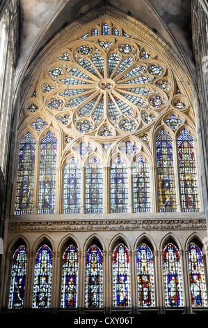 Interior view, west portal, Cathedral of Saint-Étienne, built between 1220 and 1520, Metz, Lorraine, France, Europe - Stock Photo
