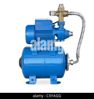 Blue electric high pressure water pump isolated on white - Stock Photo