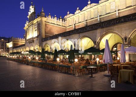 Sukiennice, Krakow Cloth or Drapers' Hall, main square, Rynek Glowny, dusk, Krakow, Cracow, Poland, Europe - Stock Photo