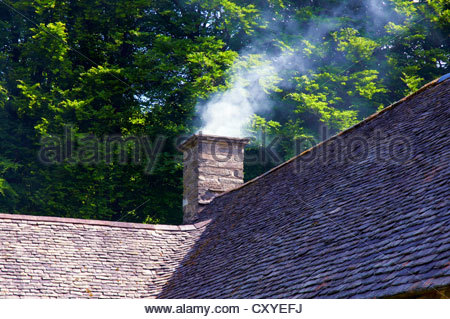 smoke being emitted from a chimney stack on a tiled roof - Stock Photo