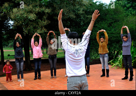 Warm up, theatre workshop with teenagers in a rural community, Comunidad Arroyito, Department of Concepcion, Paraguay - Stock Photo