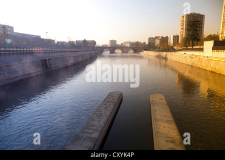 Manzanares river in Madrid Rio, an ecological development, in Madrid, Spain, Europe - Stock Photo