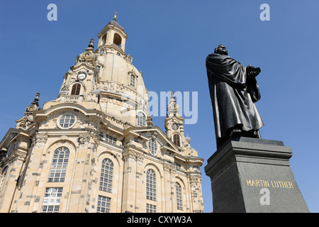 Martin Luther monument in front of Frauenkirche church, Neumarkt square, Dresden, Saxony - Stock Photo