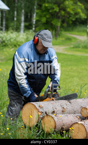 Elderly man cutting a spruce log with chainsaw , Finland - Stock Photo