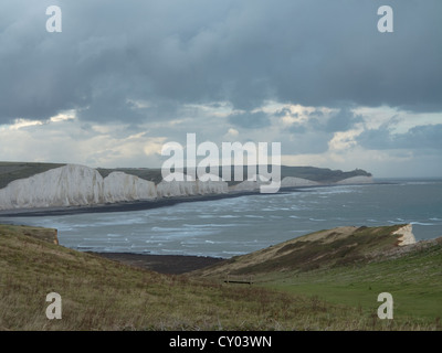 Seven Sisters white chalk cliffs East Sussex UK on stormy day - Stock Photo