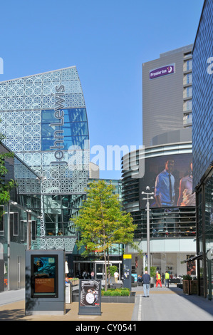 Westfield shopping centre outdoor mall John Lewis department store left & Premier Inn hotel building right Stratford - Stock Photo