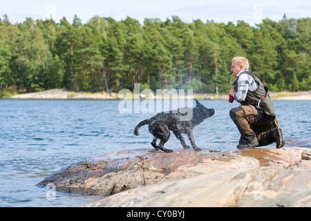 The Labrador retriever shake himself after fetching - Stock Photo