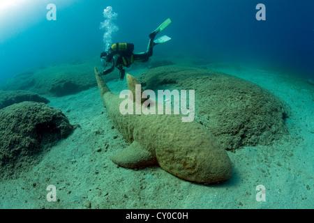Underwater art, marble shark, sculpture by Kemal Tufan from 2000, Kas, Turkey, Mediterranean - Stock Photo