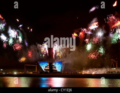Fireworks at Titanic Belfast, Northern Ireland - Stock Photo