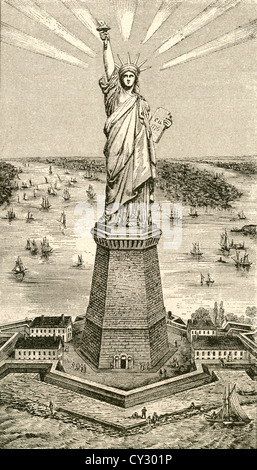 Statue of Liberty, New York, United States of America soon after its dedication on October 28, 1886. - Stock Photo