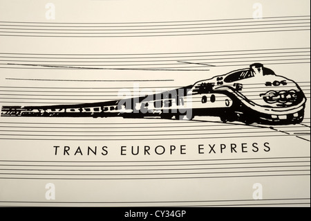 Record sleeve from Trans Europe Express by German electronic group Kraftwerk - Stock Photo
