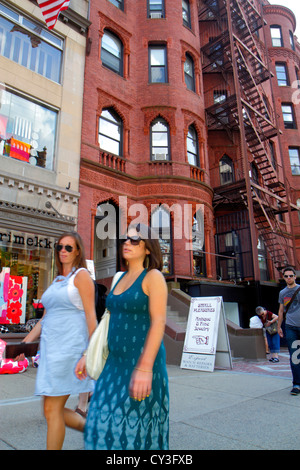 Boston Massachusetts Back Bay Newbury Street high-end luxury name-brand shopping woman - Stock Photo