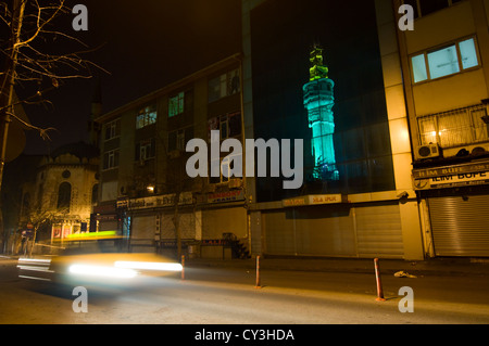 Taxi at Fuat Paşa Caddesi (Istanbul) at night - Stock Photo