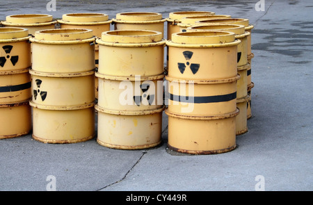 Rusty and old barrel with radioactive waste - Stock Photo