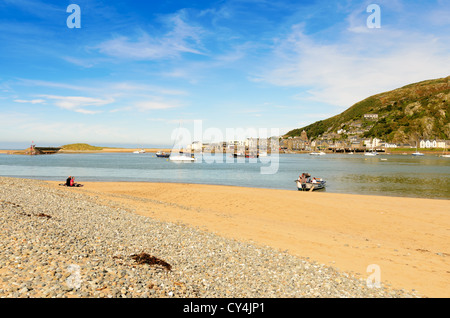 Barmouth, Wales - September 8th, 2012: Unidentified people boarding Barmouth Pedestrian Ferry from Fairbourne. - Stock Photo