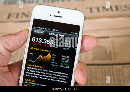 Detail of iPhone 5 smart phone screen showing financial app with Apple company stock market data - Stock Photo