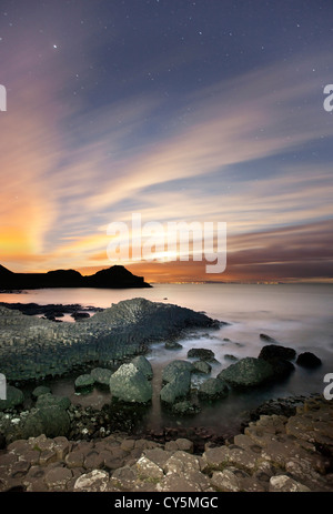 The Giants Causeway at night - Stock Photo