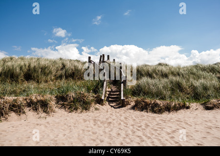 Steps over sand dunes from beach. - Stock Photo