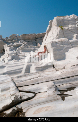 Thassos, Greece. Greek island. September. One of the ancient marble quarries on the penninsula at Alyki or Aliki. - Stock Photo