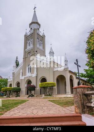 A view of the front from a 45 degree angle of the Nuestra Señora de la Candelaria church in Areguá, Paraguay, South - Stock Photo