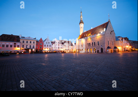 Town hall square in Tallinn, Estonia - Stock Photo