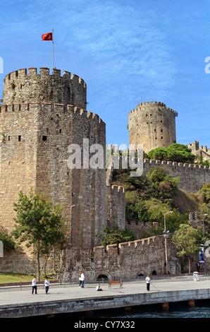 Rumeli Fortress on the European Bosphorus, Istanbul, Turkey - Stock Photo
