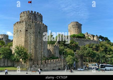 Rumeli Fortress on the European Bosphorus, Istanbul, Turkey. - Stock Photo