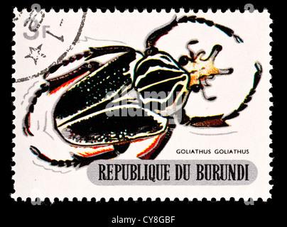 Postage stamp from Burundi depicting a goliath beetle (Goliathus goliathus) - Stock Photo