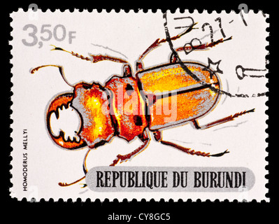 Postage stamp from Burundi depicting a stag beetle (Homoderus mellyi) - Stock Photo