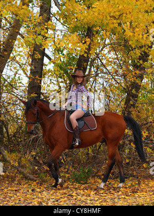 Cowgirl riding a bay horse - Stock Photo