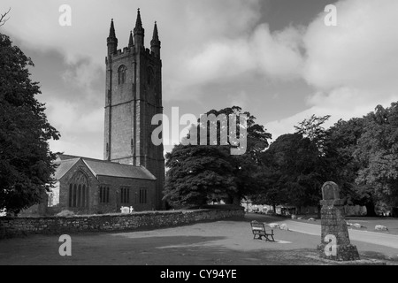 Summer, St Pancras parish church, Widecombe in the Moor village, Dartmoor National Park, Devon, England, UK - Stock Photo