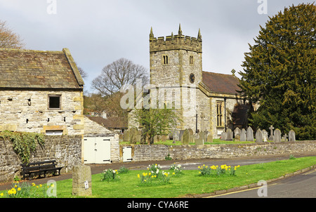 Holy Trinity Parish Church, in the English village of Ashford in the Water near Bakewell in the Peak District National - Stock Photo
